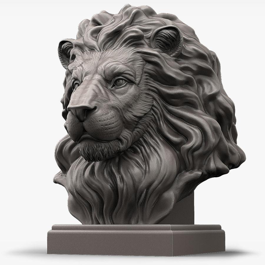 Lion Head Sculpture per stampante 3d royalty-free 3d model - Preview no. 1