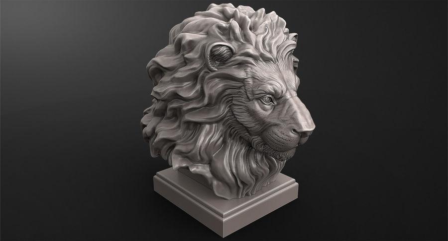 Lion Head Sculpture per stampante 3d royalty-free 3d model - Preview no. 7