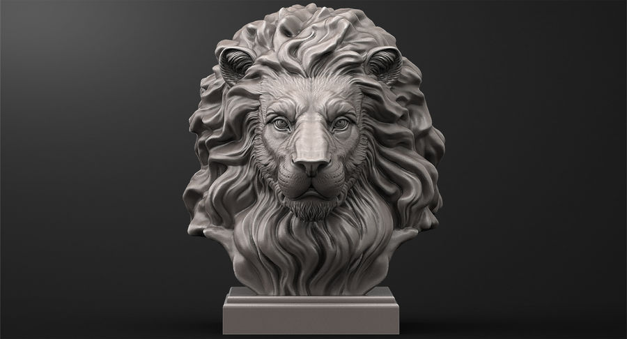 Lion Head Sculpture for 3d Printer royalty-free 3d model - Preview no. 3