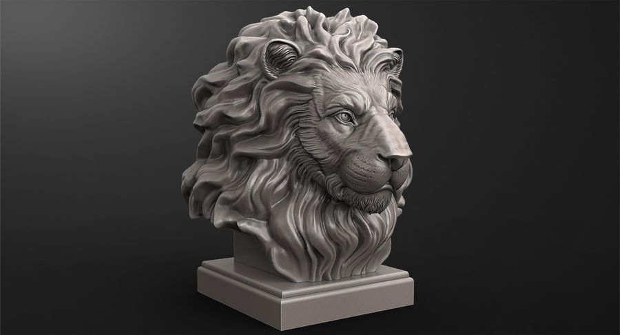 Lion Head Sculpture for 3d Printer royalty-free 3d model - Preview no. 8
