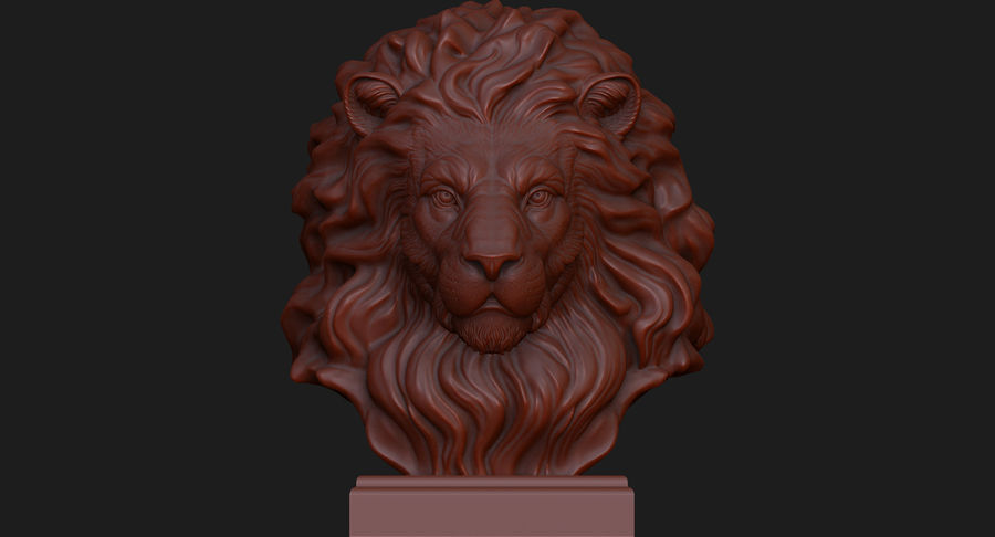 Lion Head Sculpture for 3d Printer royalty-free 3d model - Preview no. 9
