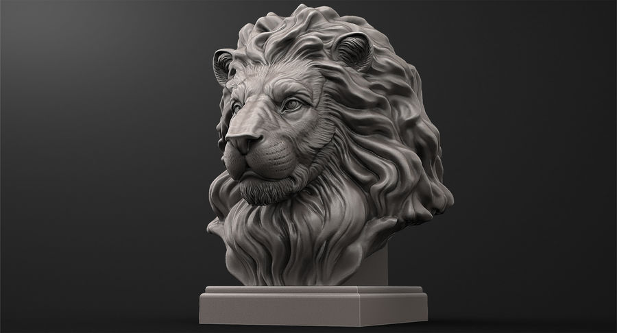 Lion Head Sculpture for 3d Printer royalty-free 3d model - Preview no. 2