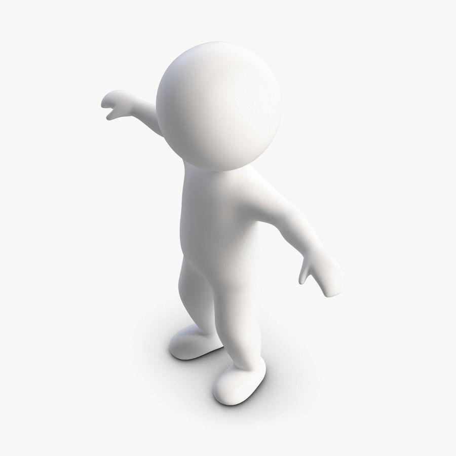 Stickman 1 T-Pose royalty-free 3d model - Preview no. 5