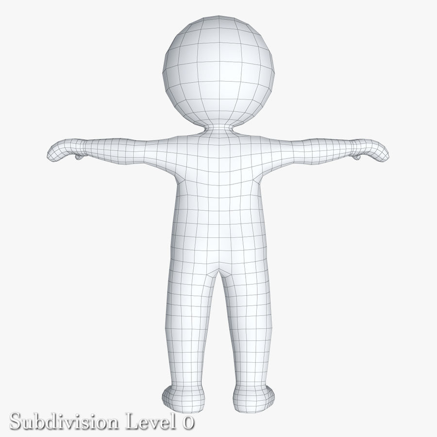 Stickman 1 T-Pose royalty-free 3d model - Preview no. 13