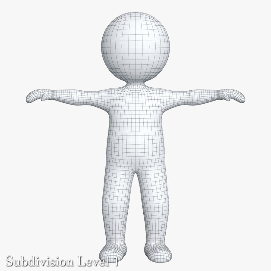 Stickman 1 T-Pose royalty-free 3d model - Preview no. 10