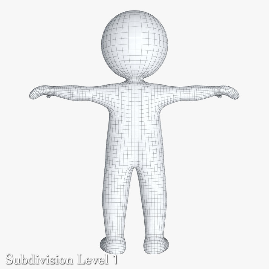 Stickman 1 T-Pose royalty-free 3d model - Preview no. 14