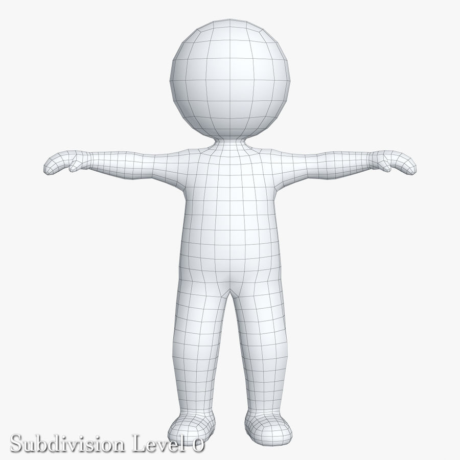 Stickman 1 T-Pose royalty-free 3d model - Preview no. 9
