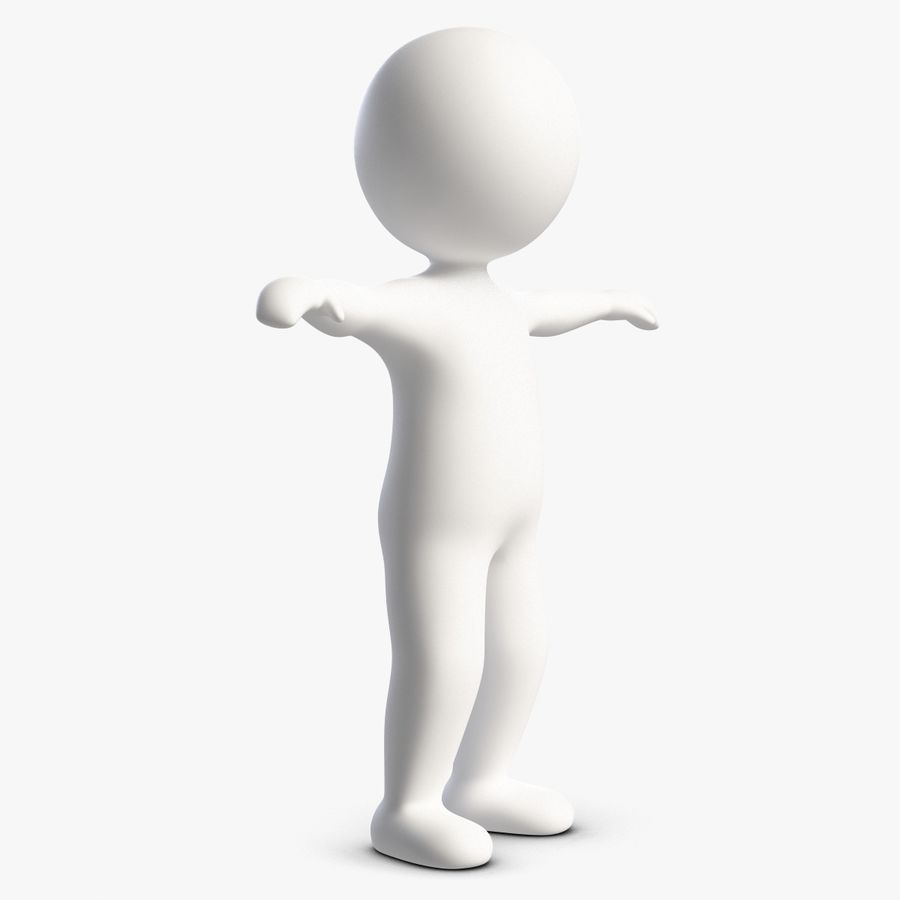Stickman 1 T-Pose royalty-free 3d model - Preview no. 4
