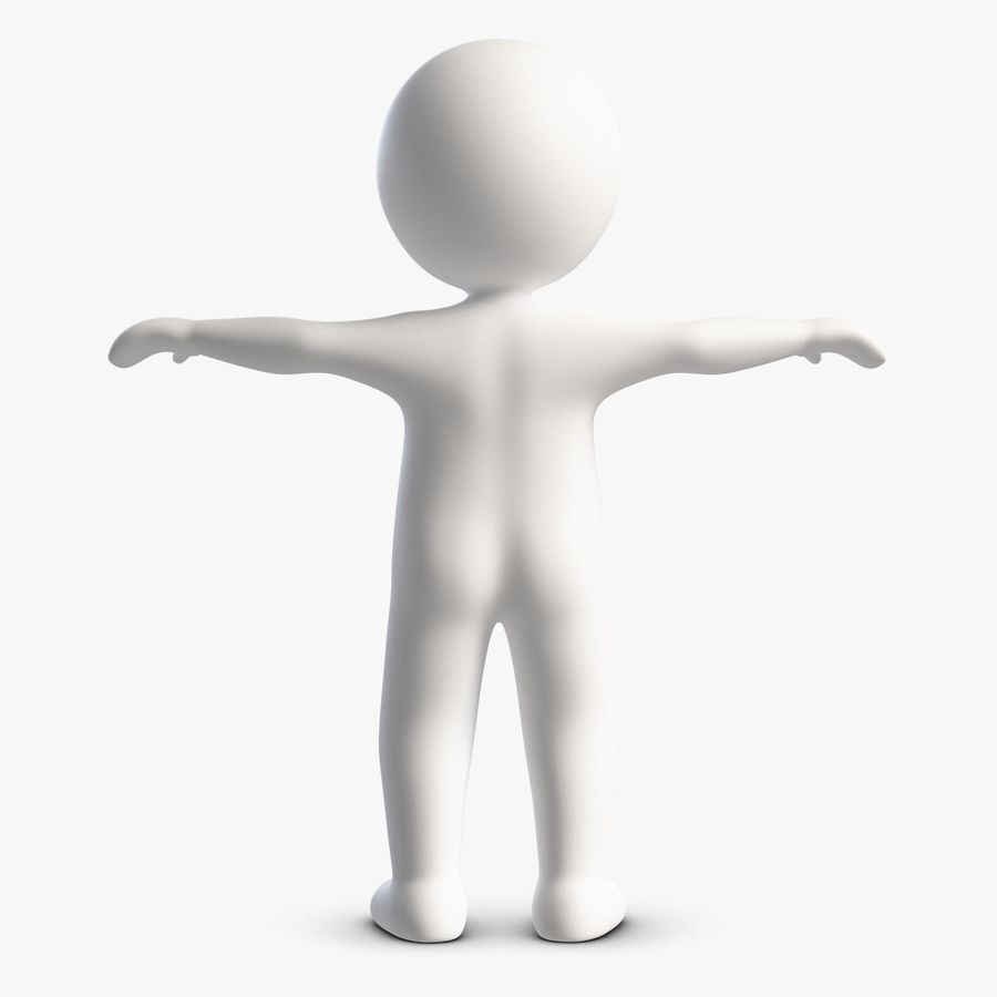 Stickman 1 T-Pose royalty-free 3d model - Preview no. 2