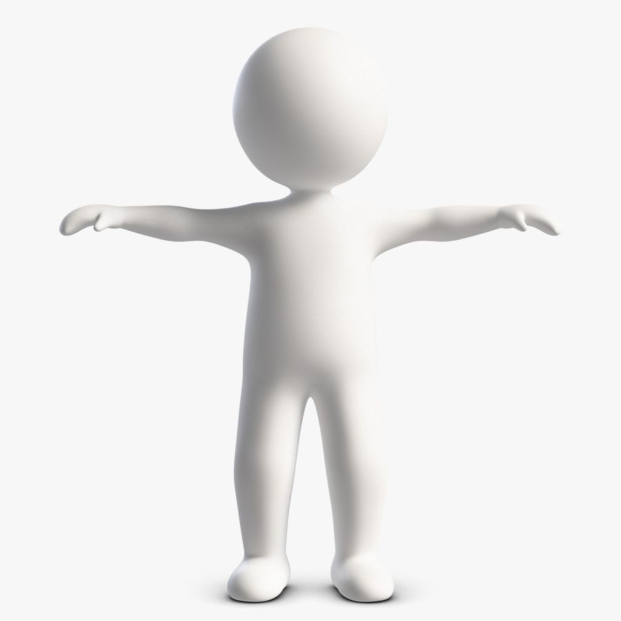 Stickman 1 T-Pose royalty-free 3d model - Preview no. 1