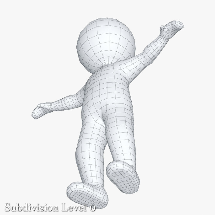 Stickman 1 T-Pose royalty-free 3d model - Preview no. 7