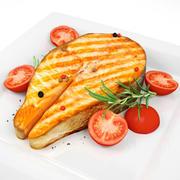 Bife de salmão e tomate de Cherie 3d model
