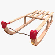 木制雪橇 3d model