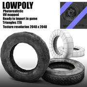 Low poly old tire of wheel 3d model