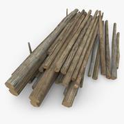 Montón de troncos de madera modelo 3d