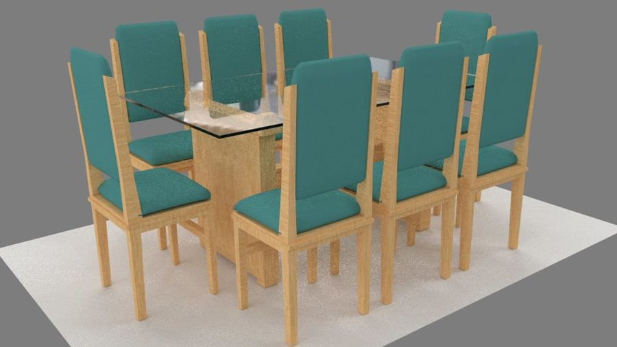 Table&chair 02 royalty-free 3d model - Preview no. 1