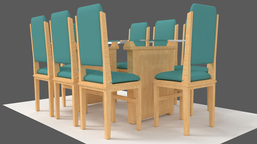 Table&chair 02 royalty-free 3d model - Preview no. 7