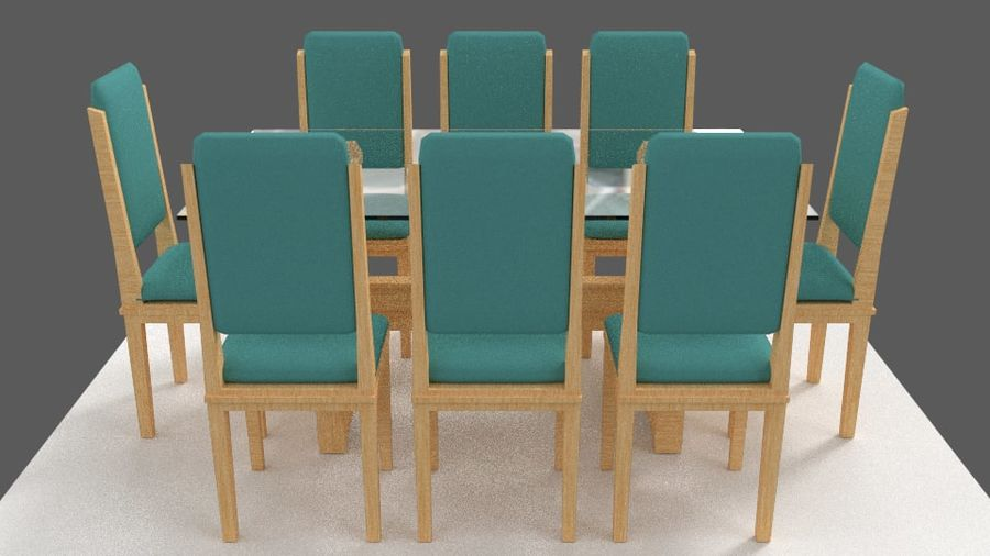 Table&chair 02 royalty-free 3d model - Preview no. 9