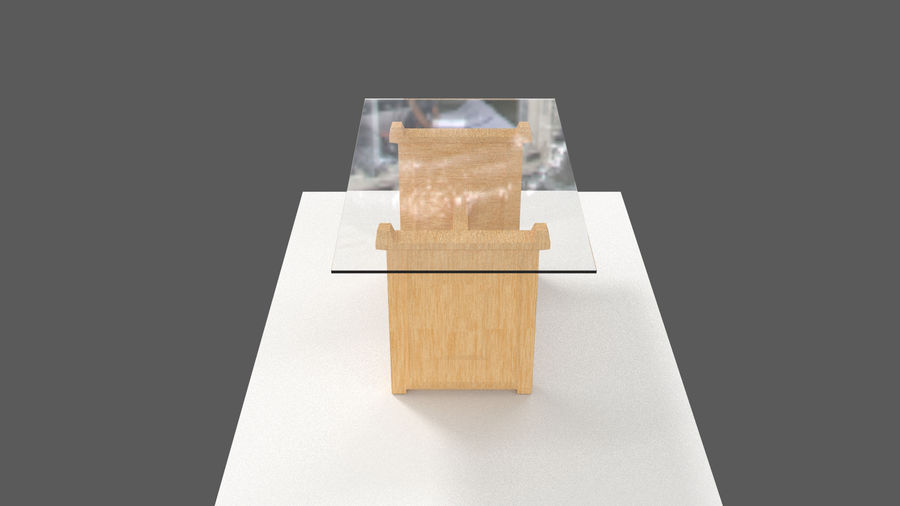 Table&chair 02 royalty-free 3d model - Preview no. 4
