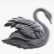 swan relief for CNC 3d model