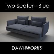 Tweezitsbank Blauw 3d model