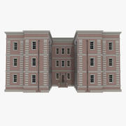 Ceglane mieszkanie trzy z teksturowanym wnętrzem 3d model