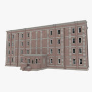 Brick apartment two with interior textured 3d model
