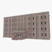 Ceglane mieszkanie dwa z teksturowanym wnętrzem 3d model