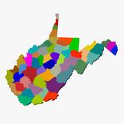 Carte du comté - Virginie occidentale 3d model