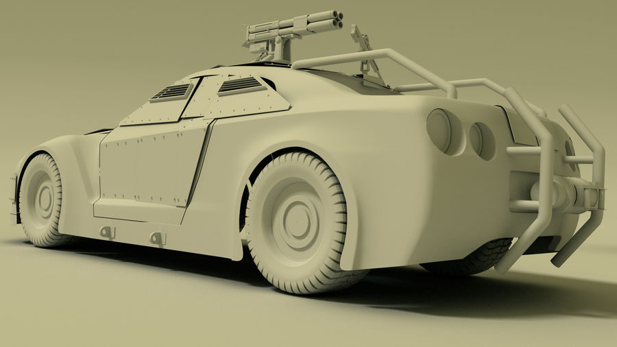 Nissan GTR royalty-free 3d model - Preview no. 8