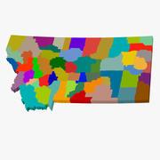 郡地図-モンタナ州 3d model