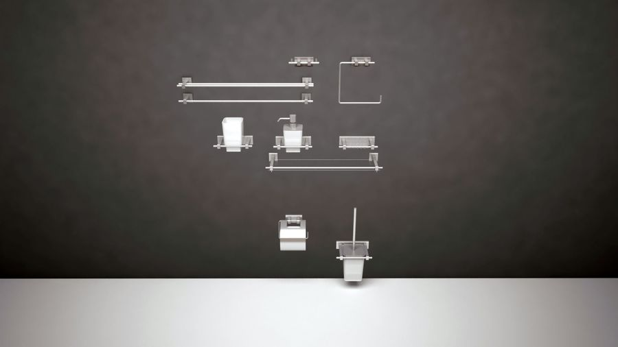 bathroom accessories royalty-free 3d model - Preview no. 1