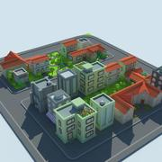 Kafelkowe miasto kreskówkowe 3d model