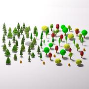 낮은 폴리 숲 만화 3d model