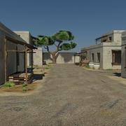 Песчаная пустыня Деревенская игровая среда Актив - шутер от первого лица VR AR 3d model