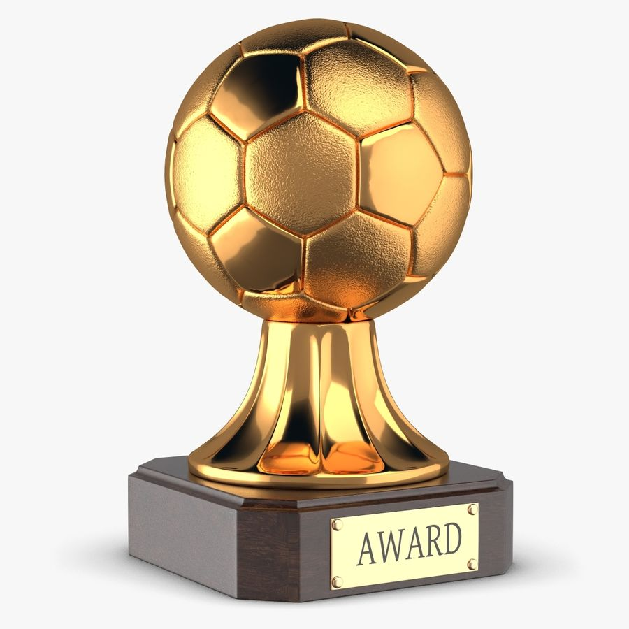Gold Soccer Award Trophy royalty-free 3d model - Preview no. 1