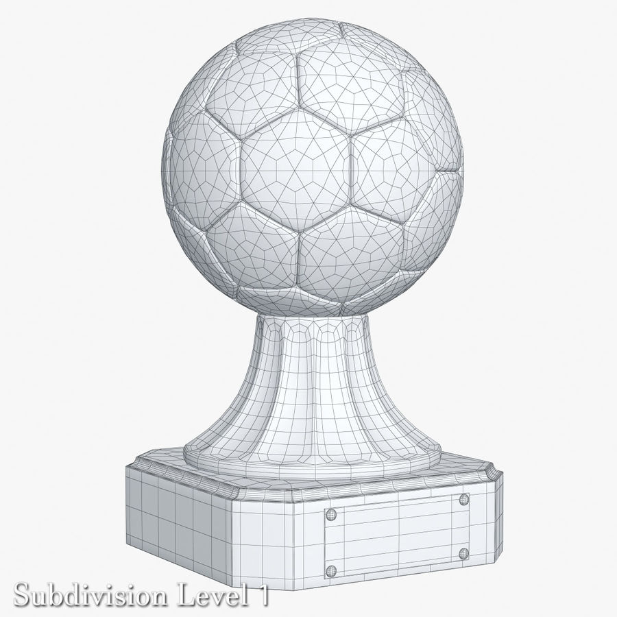 Gold Soccer Award Trophy royalty-free 3d model - Preview no. 8