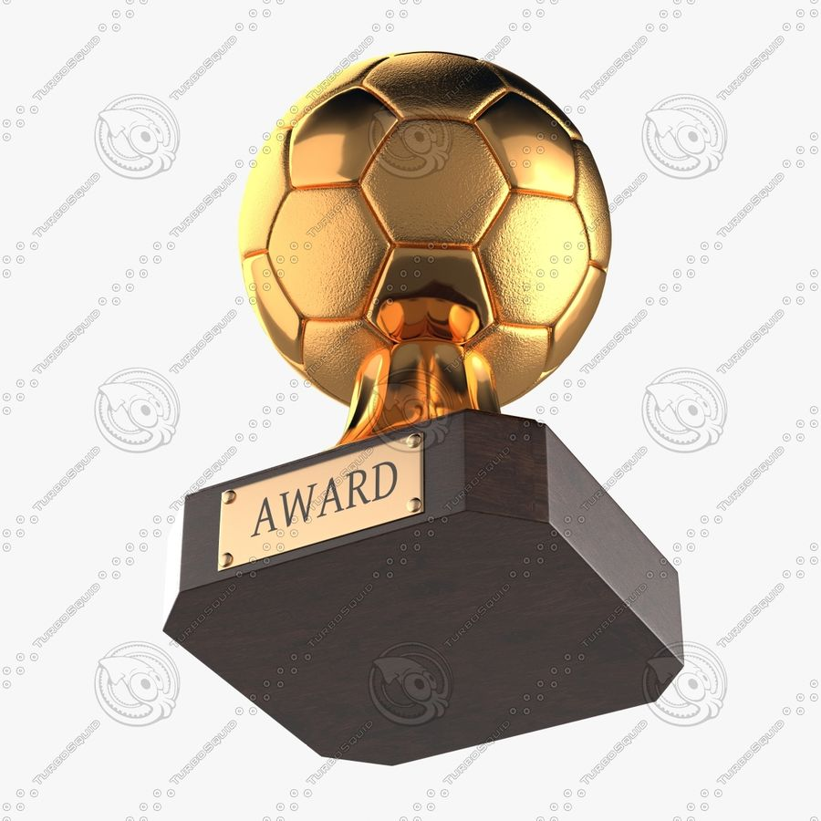 Gold Soccer Award Trophy royalty-free 3d model - Preview no. 2