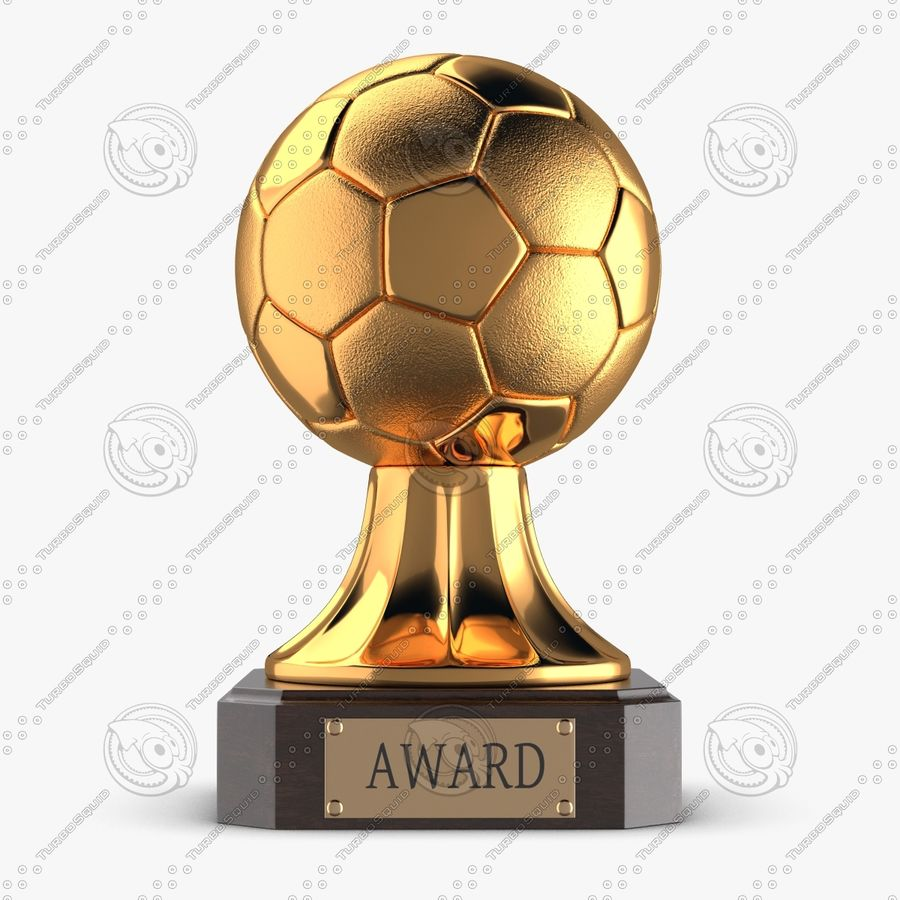 Gold Soccer Award Trophy royalty-free 3d model - Preview no. 3