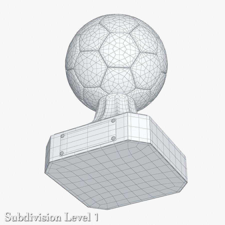 Gold Soccer Award Trophy royalty-free 3d model - Preview no. 6