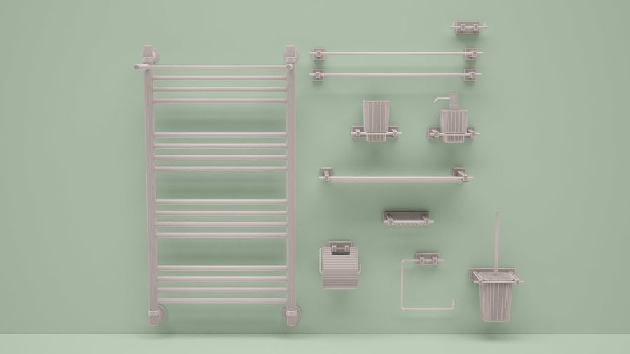 heated towel rail and bath accessories royalty-free 3d model - Preview no. 5