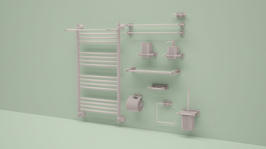 heated towel rail and bath accessories royalty-free 3d model - Preview no. 4