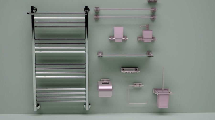 heated towel rail and bath accessories royalty-free 3d model - Preview no. 1