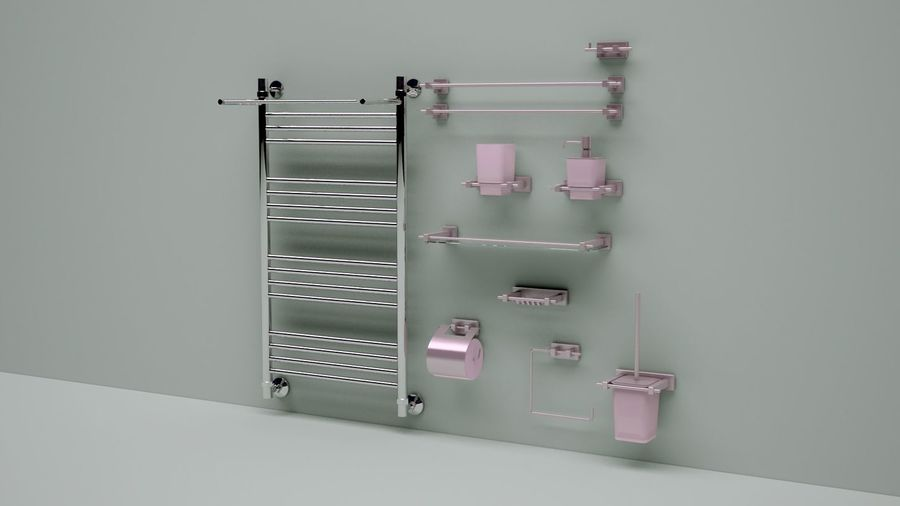 heated towel rail and bath accessories royalty-free 3d model - Preview no. 2