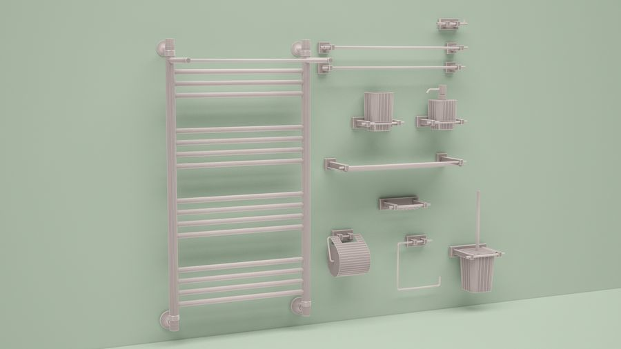 heated towel rail and bath accessories royalty-free 3d model - Preview no. 6