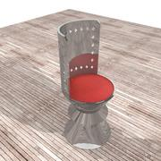 Metallstuhl mit rotem Stoff 3d model