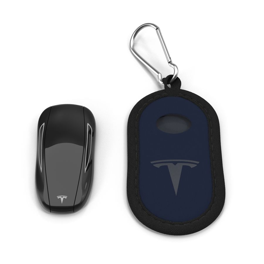 Tesla S Key Fob And Blue Cover royalty-free 3d model - Preview no. 3