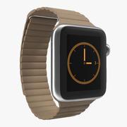 Apple Watch 38mm Magnetic Closure Brown Leather Loop 2 3D 모델 3d model