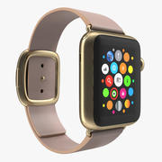 Apple Watch 38mm Gold Case with Rose Gray Modern Buckle 2 3D Model 3d model