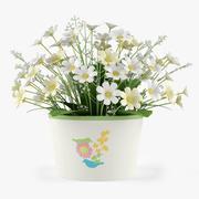 Çiçek Papatya Buketi 3d model